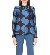 Stella Mccartney Polka Dot Silk Shirt Blue Blk