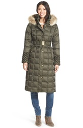 Betsey Johnson Faux Fur Trim Hooded Long Puffer Coat Forest Green