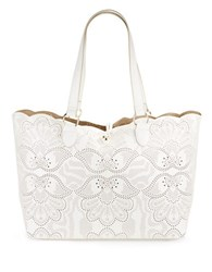 Paradox Large Perforated Leather Tote Bright White