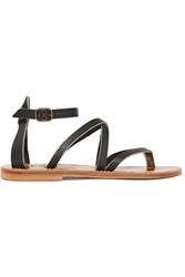 K Jacques St Tropez Epicure Leather Sandals Black