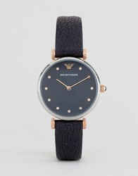 Emporio Armani Navy Leather Retro Watch Ar1989 Navy Blue
