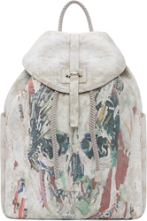 Alexander Mcqueen Silver Airbrushed Leather Collage Skull Backpack