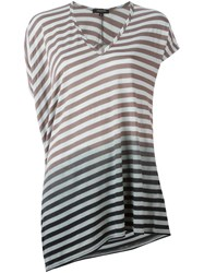 Unconditional Striped Asymmetric T Shirt Green