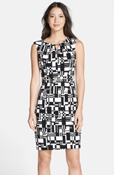 Print Stretch Sheath Dress Regular And Petite Black Ivory