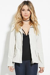 Forever 21 Hooded Utility Jacket Taupe