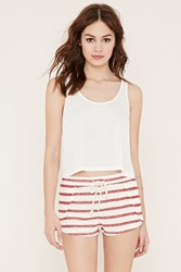 Forever 21 Striped French Terry Shorts Cream Red