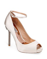 Badgley Mischka Diego Embellished High Heel Peep Toe Pumps Ivory