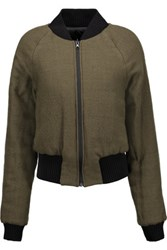 Maison Martin Margiela Mm6 Ribbed Trimmed Twill Jacket Army Green
