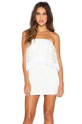 T Bags Losangeles Strapless Lace Mini Dress White