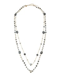 Emily And Ashley Greenbeads By Emily And Ashley Long Crystal And Stone Beaded Double Strand Necklace Gray