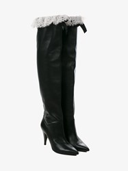 Philosophy Lace Trimmed Leather Boots Black White