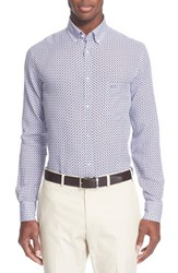 Men's Paul And Shark Regular Fit Diamond Print Linen Sport Shirt