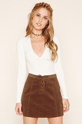 Forever 21 Corduroy Lace Up Mini Skirt
