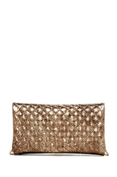 Abro Quilted Metallic Snakeskin Embossed Leather Fold Clutch Brown