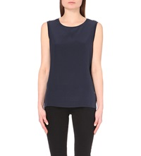 Reiss Kali Sleeveless Silk Top Navy
