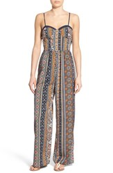 Women's Band Of Gypsies Print Sweetheart Jumpsuit