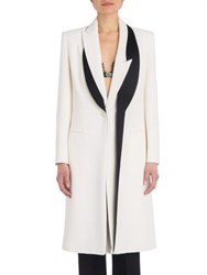 Alexander Mcqueen Two Tone Leaf Crepe Long Jacket White Black