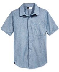 Lrg Men's Big And Tall Defender Chambray Fleck Short Sleeve Shirt Blue Chambray