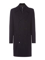 Linea Furness Funnel Neck Double Breasted Coat Navy