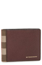 Burberry Men's Check Leather Wallet Red Wine
