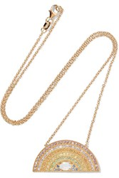 Andrea Fohrman Rainbow 18 Karat Gold Multi Stone Necklace