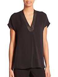 Vince Leather Trimmed Silk Tunic Black