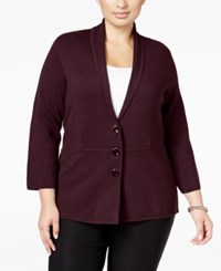 Alfani Plus Size Shawl Collar Knit Jacket Only At Macy's New Wine