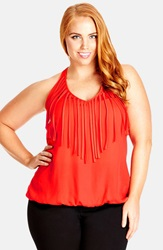 City Chic Fringe Halter Top Plus Size Rockmelon
