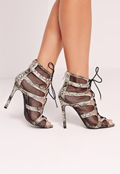 Missguided Mesh Lace Up Heeled Sandal Snake Green Green