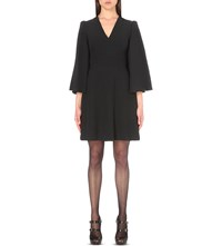 Alexander Mcqueen Cape Detail Crepe Mini Dress Black