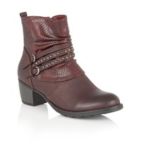 Lotus Forsythia Animal Print Ankle Boots Bordeaux