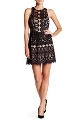 Trixxi Lace Sleeveless Skater Dress Black
