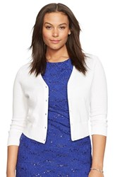 Plus Size Women's Lauren Ralph Lauren Cotton V Neck Cardigan Lauren White