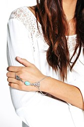 Boohoo Stone Detail Ring Hand Harness Silver