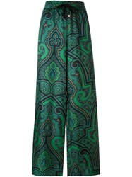 For Restless Sleepers Abstract Print Palazzo Pants Green