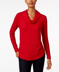 Styleandco. Style Co. Waffle Knit Cowl Neck Top Only At Macy's New Red Amore