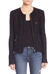 Paige Lindy Leather Trimmed Tweed Jacket