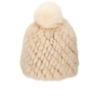 Barneys New York Women's Mink And Fox Fur Beanie Beige Ivory