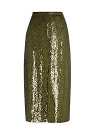 Nina Ricci Sequin Embellished Silk Midi Skirt Green