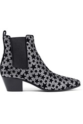 Saint Laurent Rock Flocked Glittered Leather Ankle Boots Silver