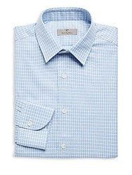 Canali Slim Fit Medallion Dress Shirt Blue