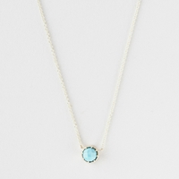 Grace Lee Crown Bezel Necklace Turquoise Yellow Gold