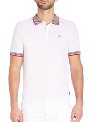 Ag Green Label Short Sleeve Pique Polo Tee Bright White Naval Blue