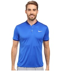 Nike Court Advantage Premier Tennis Polo Hyper Cobalt Deep Royal Blue Black White Men's Short Sleeve Pullover