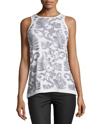 Neiman Marcus Sequined Crew Neck Tank Vapor Grey
