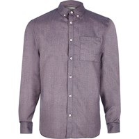 River Island Mens Purple Flannel Long Sleeve Shirt
