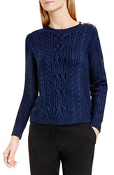 Vince Camuto Women's Button Shoulder Cable Knit Cotton Blend Sweater Naval Navy