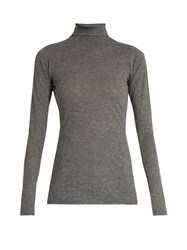 Velvet By Graham And Spencer Talisia High Neck Long Sleeved T Shirt Charcoal