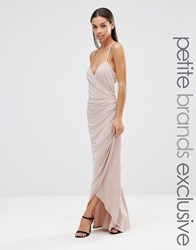 John Zack Petite Cross Back Cami Maxi Dress With Ruching Mink Beige