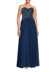 David Meister Sweetheart Neckline Sequined Gown Navy